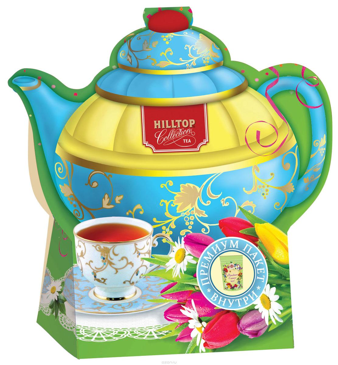 Hilltop Подарок Цейлона черный листовой чай, 80 г (чайник Тюльпаны) hilltop пасхальный подарок черное золото черный листовой чай 80 г
