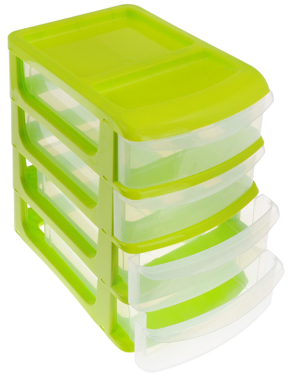 Бокс универсальный Idea, 4 секции, цвет: салатовый, 34 см х 25 см х 36 см органайзер кухонный idea цвет салатовый 19 х 25 х 14 5 см