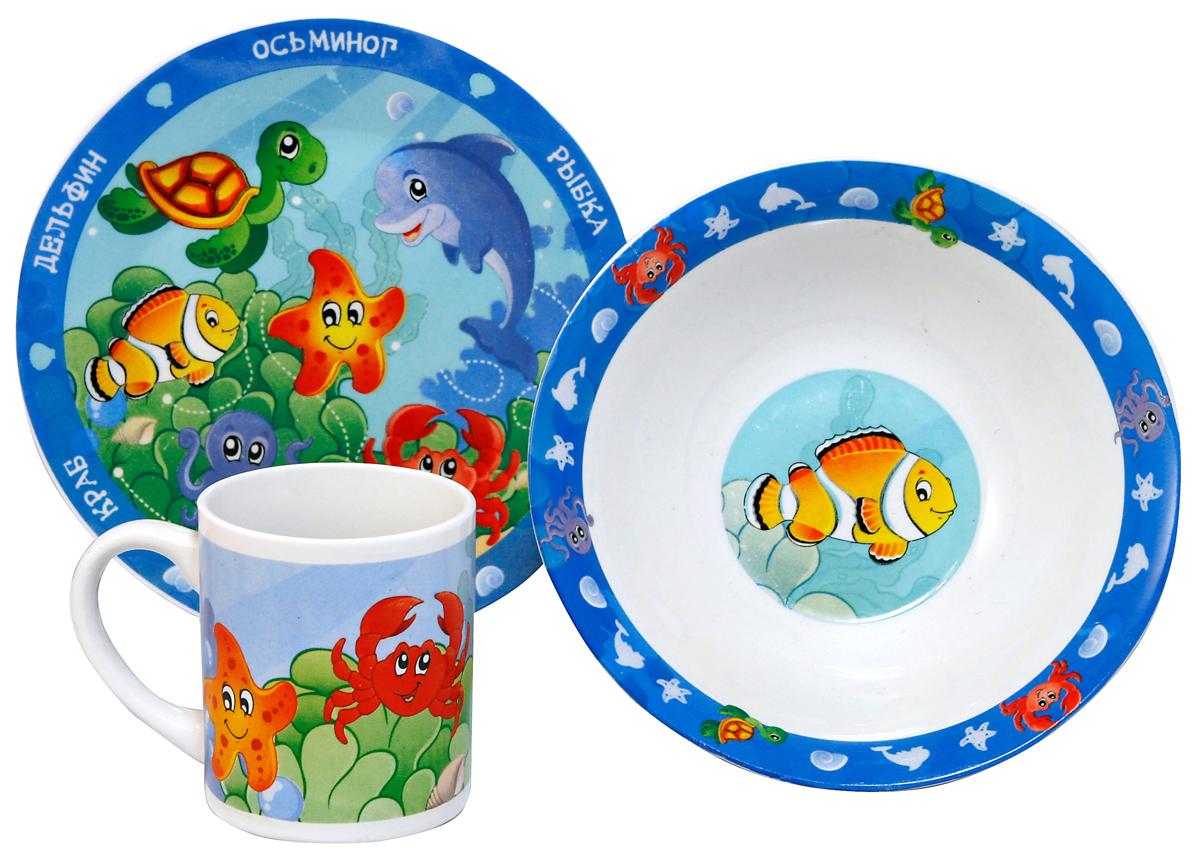 МФК-профит Набор детской посуды Морские животные 3 предмета мфк профит бокал в поисках дори 450 мл с крышкой и трубочкой