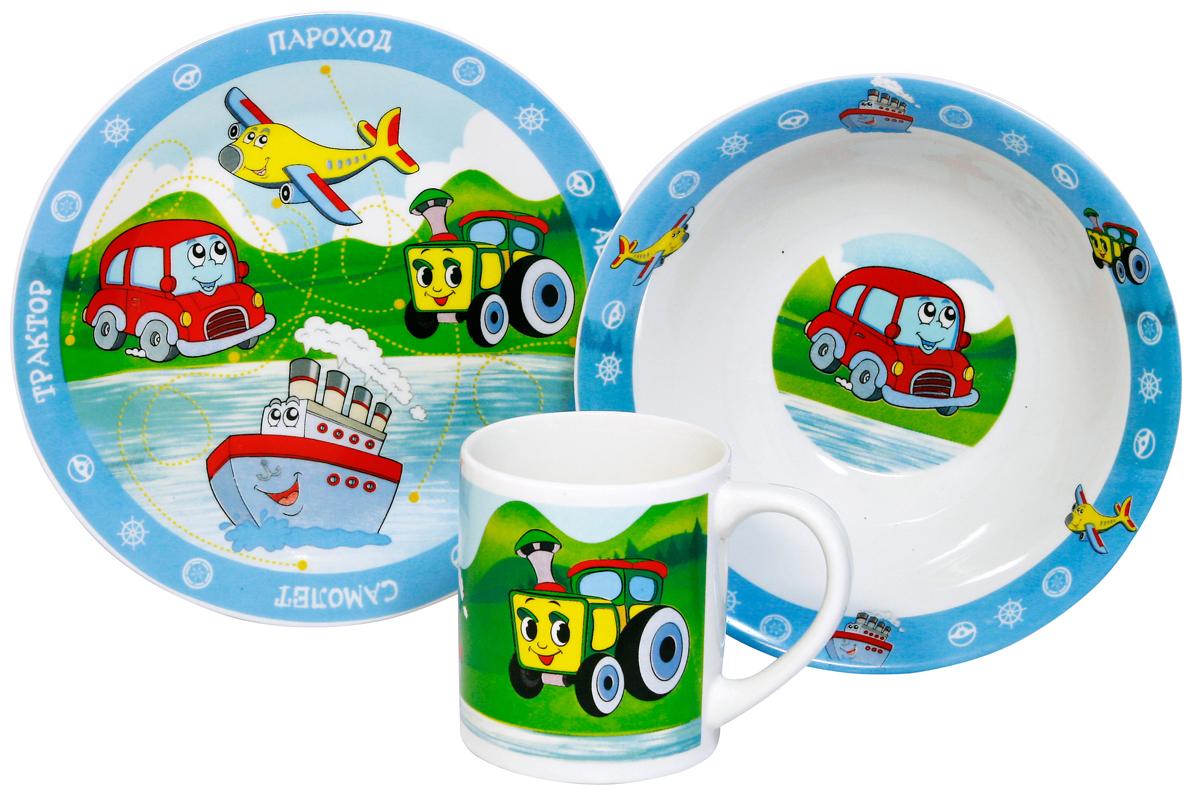 МФК-профит Набор детской посуды Транспорт 3 предмета сувенир мфк профит набор посуды гадкий я 3 пр кружка 210 мл миска 18 см тарелка 19 см в под уп