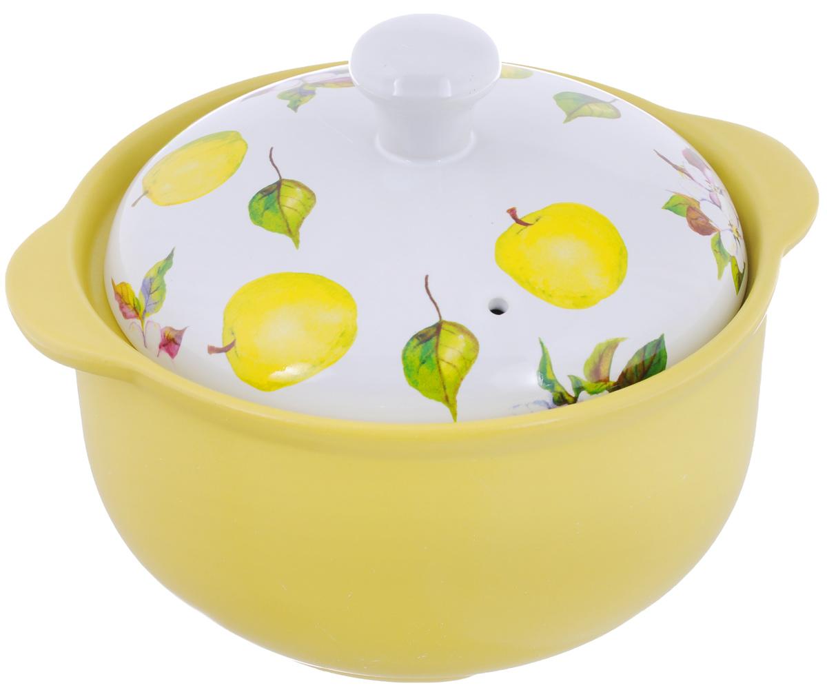 Кастрюля керамическая Едим Дома Ломбардия с крышкой, 1,6 л кастрюля керамическая едим дома narino ломбардия с крышкой цвет желтый белый 3 5 л