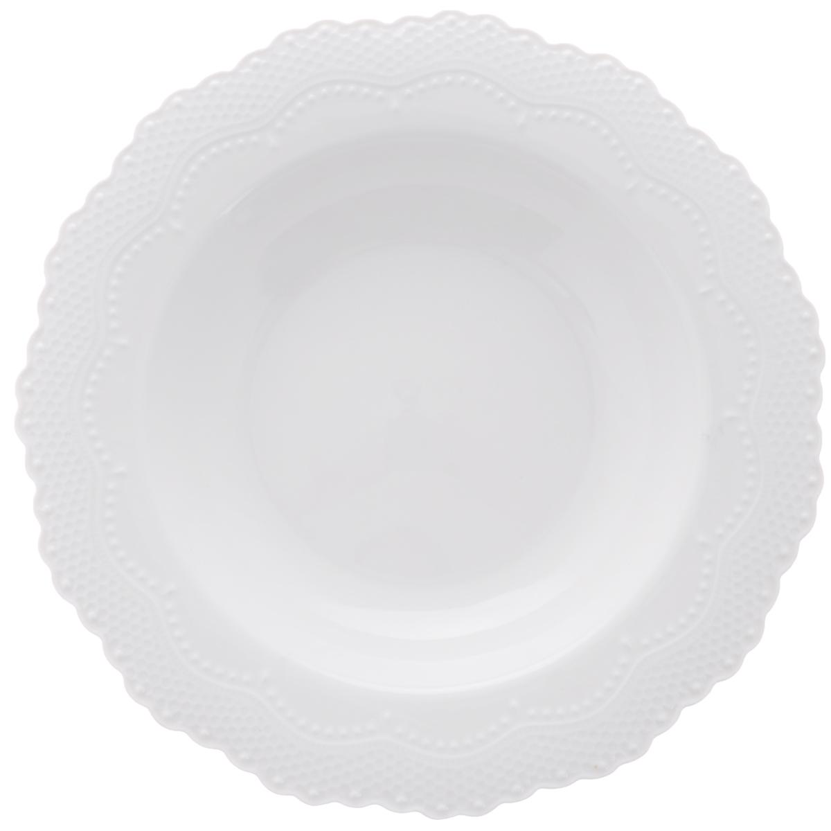 "Тарелка суповая Walmer ""Vivien"", цвет: белый, диаметр 22 см"