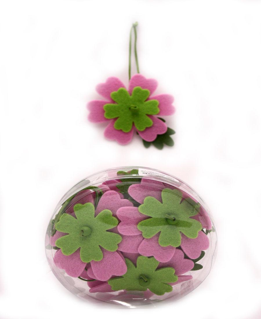 Декоративное подвесное украшение RTO Цветочки, цвет: светло-зеленый, розовый, 12 шт украшение декоративное engard птичка с колокольчиком цвет зеленый 44 х 10 см