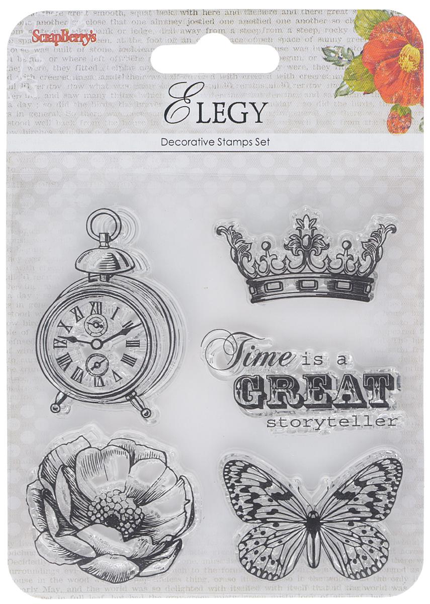 """Набор декоративных штампов ScrapBerry's """"Элегия. Время"""", 5 шт"""