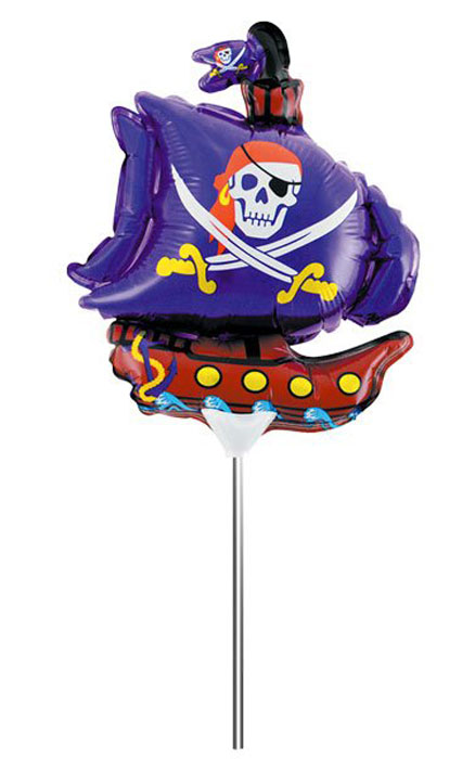 Action! Шар фольгированный на палочке Пиратский корабль