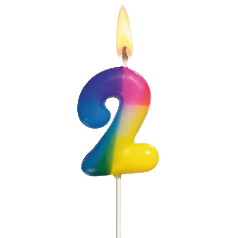цена на Susy Card Свеча-цифра для торта Радужная 2 года