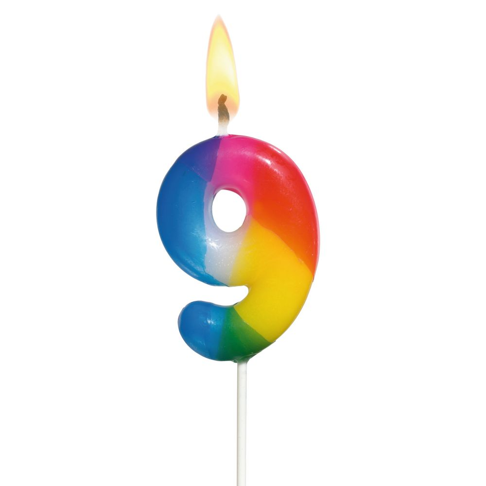 Susy Card Свеча-цифра для торта Радужная 9 лет