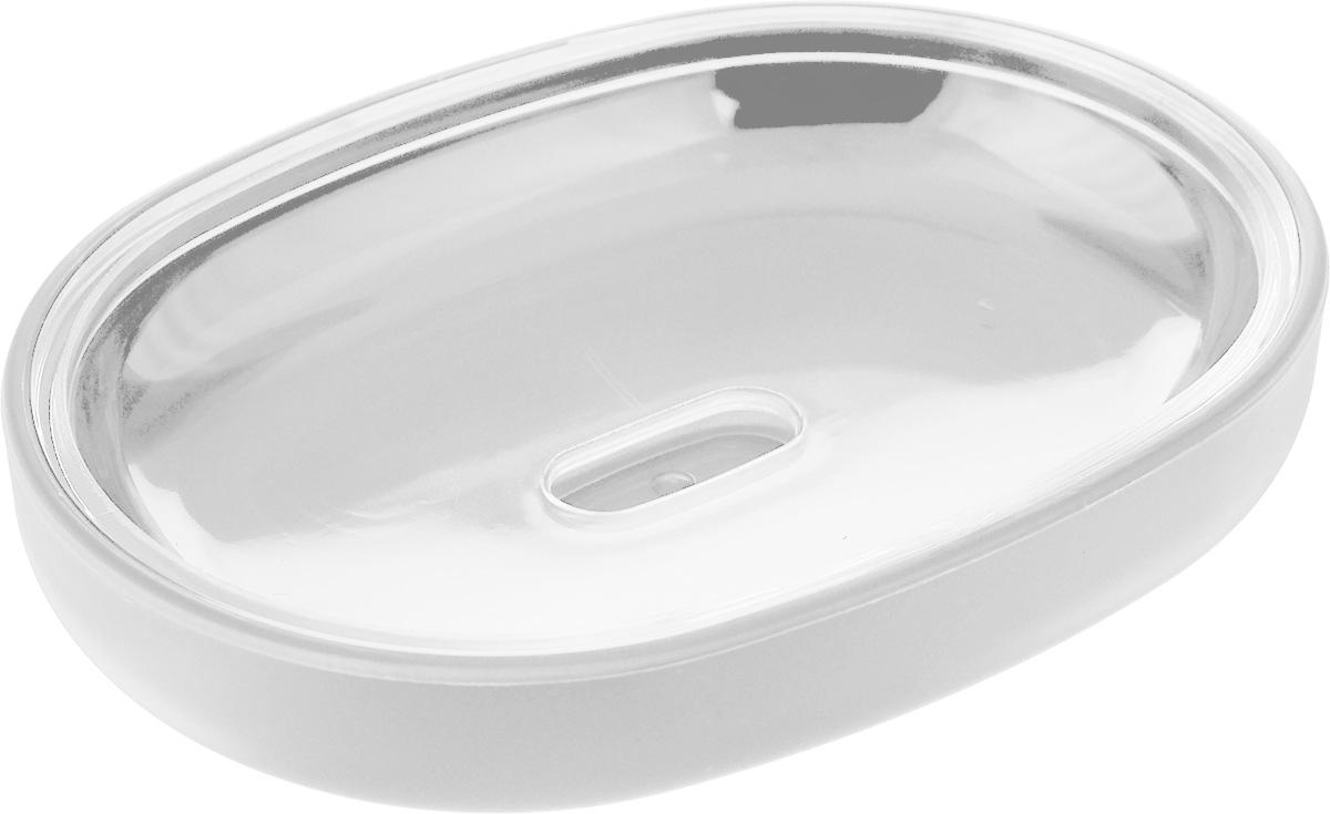 Мыльница Vanstore Plastic White, цвет: белый, 12 х 9 х 2,5 см мыльница fresh code море ракушка на присоске цвет серебристый 14 х 9 5 х 2 см