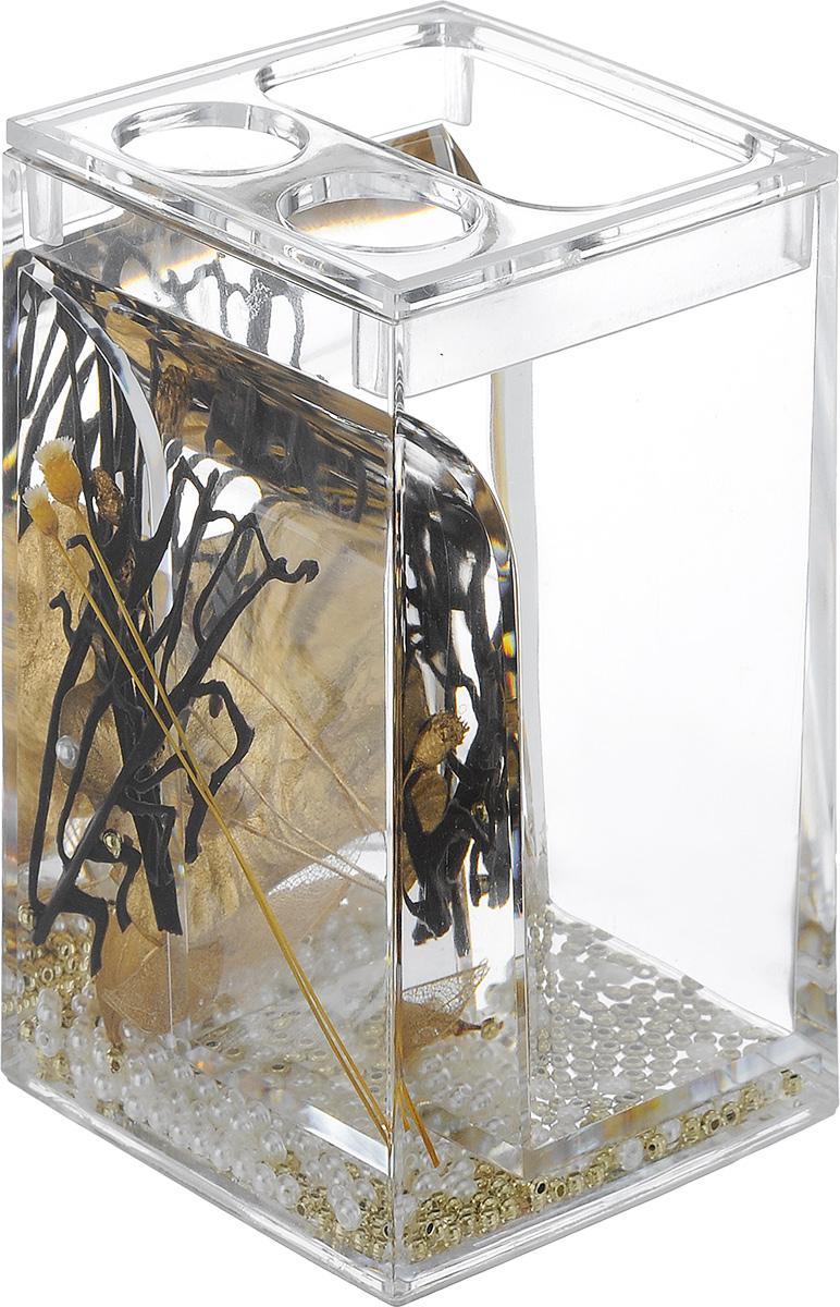 Стакан для зубных щеток Vanstore Aurum, высота 12,5 см
