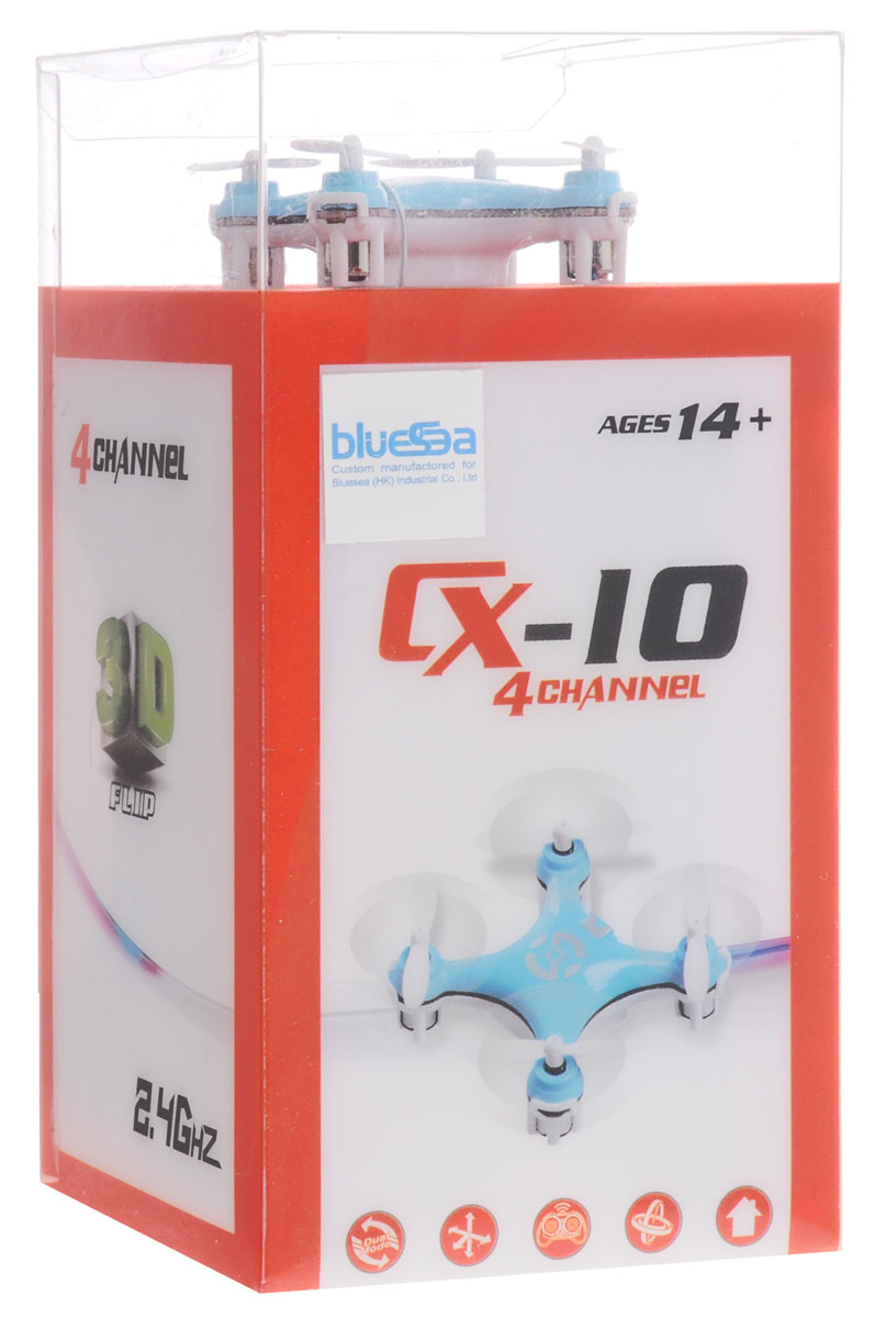 Bluesea Квадрокоптер на радиоуправлении CX-10 цвет голубой