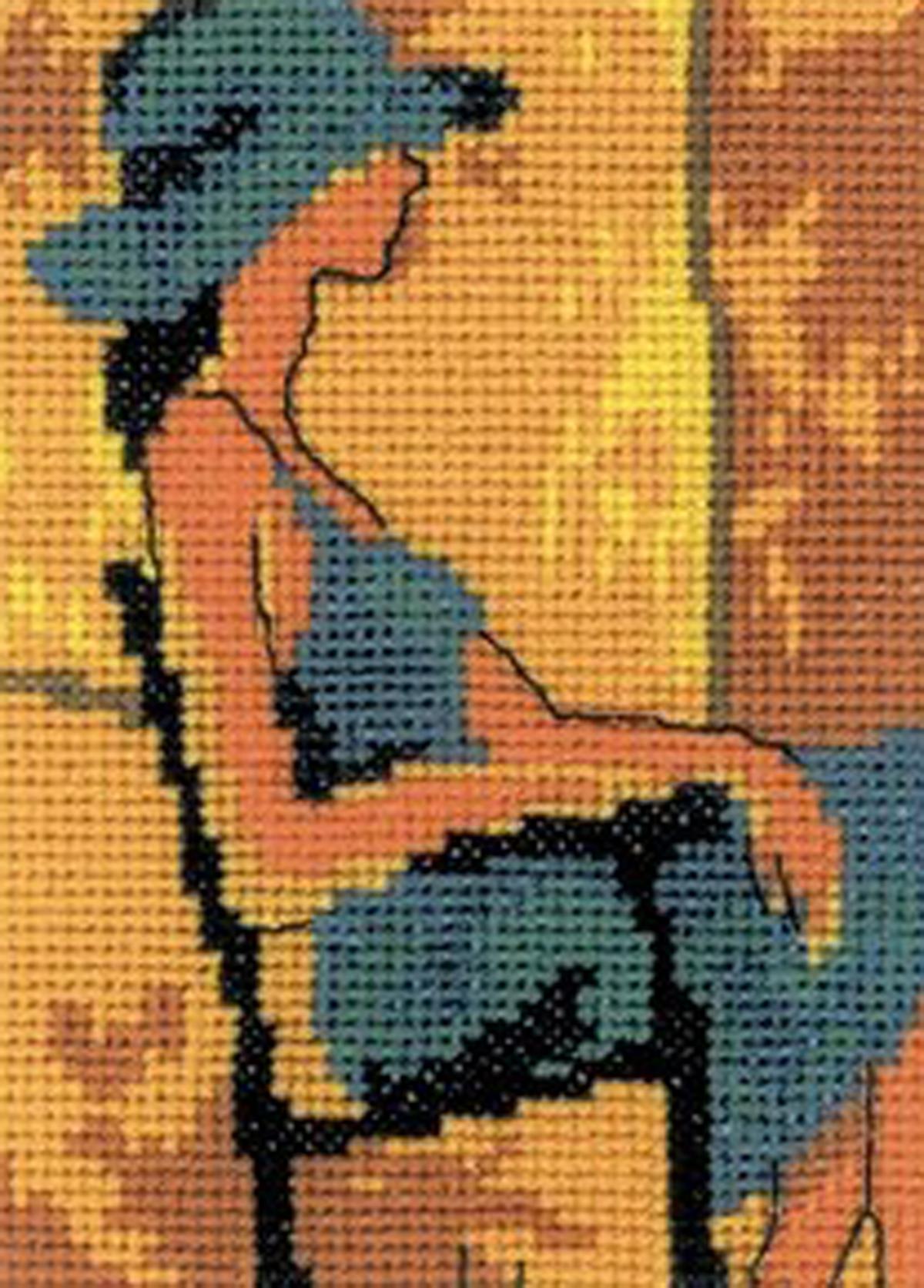 Набор для вышивания крестом RTO Девушка в синем, 8 х 11 см набор для вышивания крестом rto забавный микки 8 х 8 см