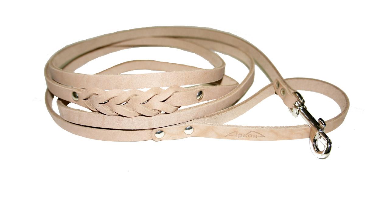 Поводок для собак Аркон Стандарт, цвет: бежевый, ширина 0,8 см, длина 250 см поводок для собак happy house luxury цвет темно коричневый длина 125 см