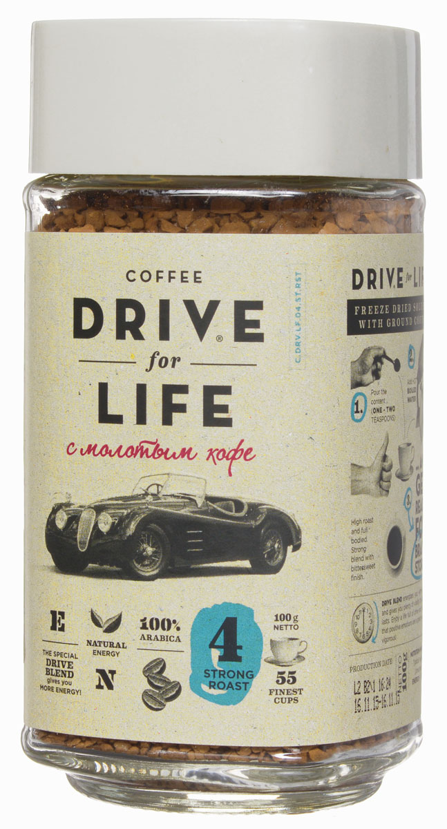 Drive for Life Strong кофе сублимированный с молотым, 100 г drive for life extra strong кофе сублимированный 150 г