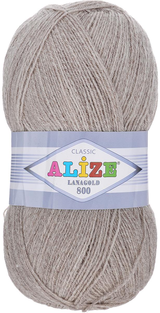 "Пряжа для вязания Alize ""Lanagold 800"", цвет: темно-серый (207), 800 м, 100 г, 5 шт"