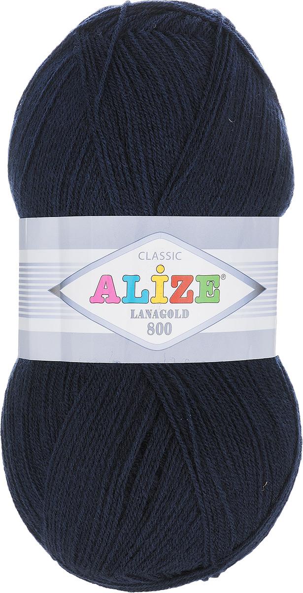 """Пряжа для вязания Alize """"Lanagold 800"""", цвет: темно-синий (58), 800 м, 100 г, 5 шт"""