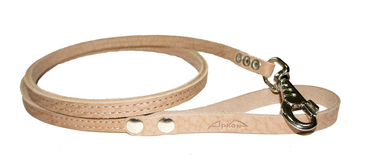 Поводок для собак Аркон Стандарт, цвет: бежевый, ширина 1,2 см, длина 140 см поводок для собак happy house luxury цвет темно коричневый длина 125 см