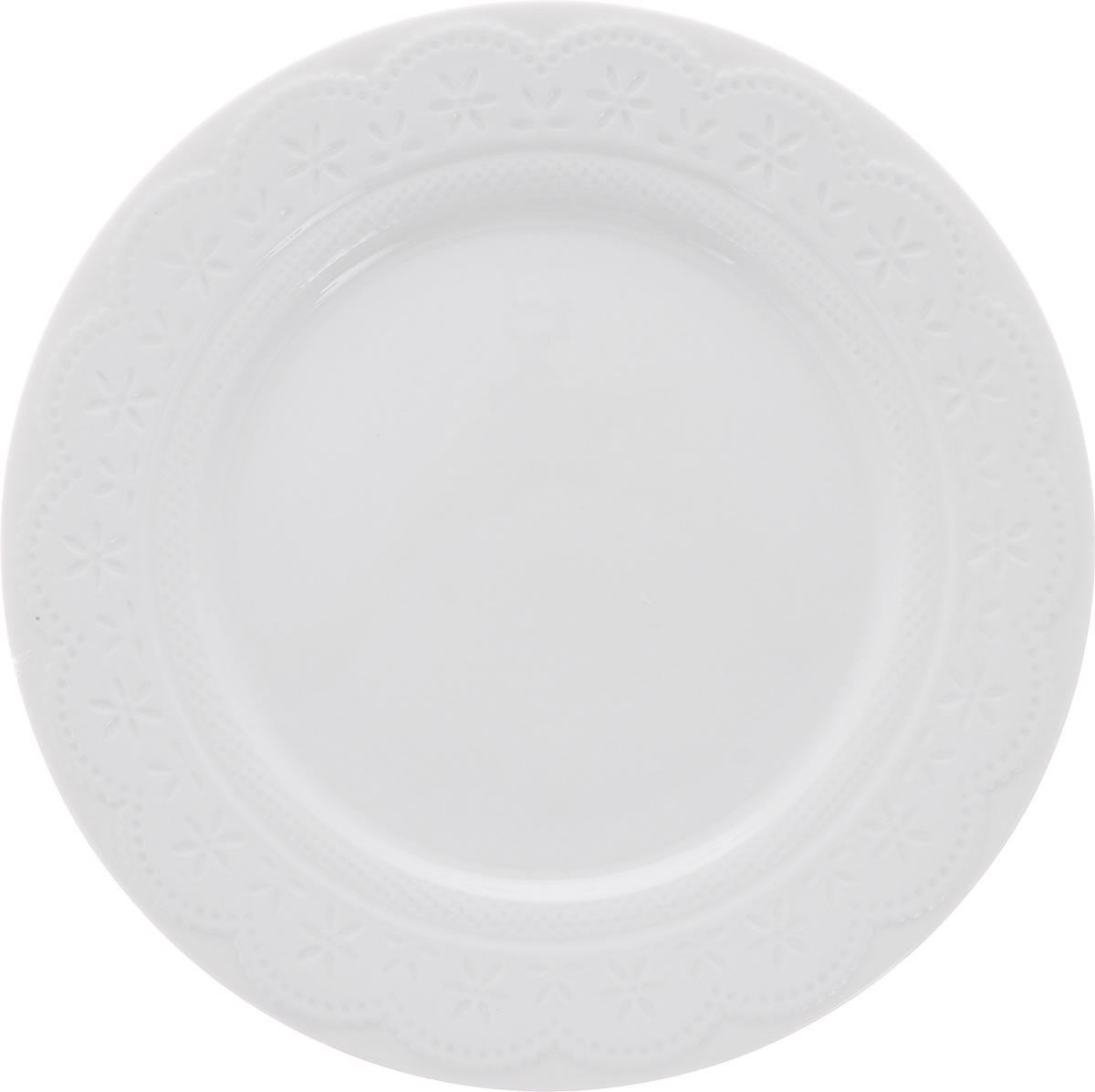 """Тарелка обеденная Walmer """"Charlotte"""", цвет: белый, диаметр 26 см"""