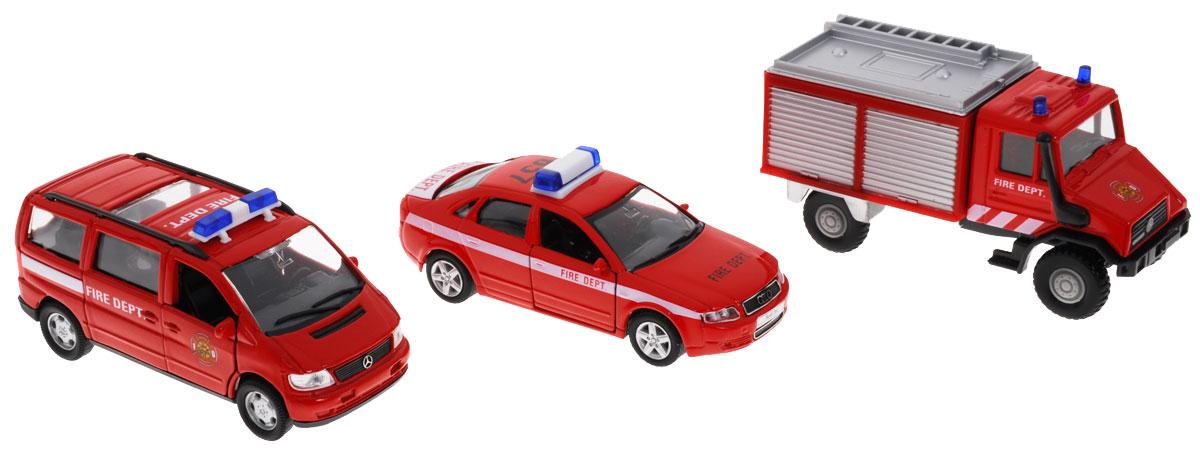 Welly Набор машинок Пожарная служба 3 шт welly набор машинок пожарная служба 3 шт