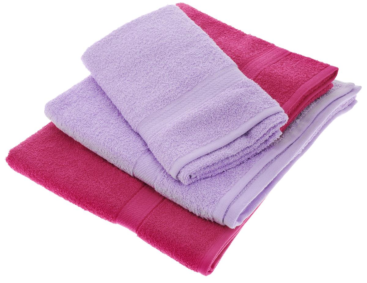 """Набор махровых полотенец """"Aisha Home Textile"""", цвет: сиреневый, малиновый, 4 шт"""