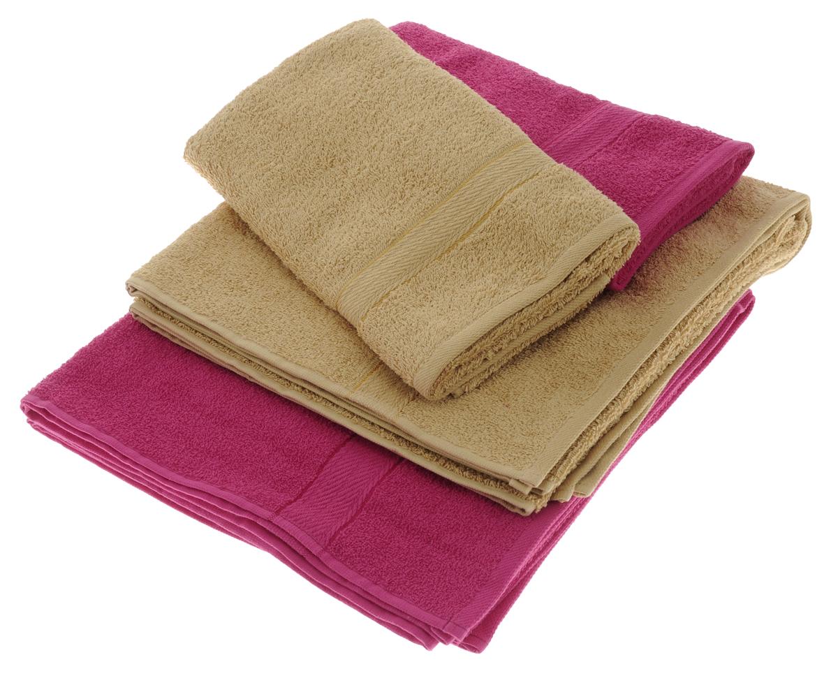 """Набор махровых полотенец """"Aisha Home Textile"""", цвет: светло-коричневый, малиновый, 4 шт"""