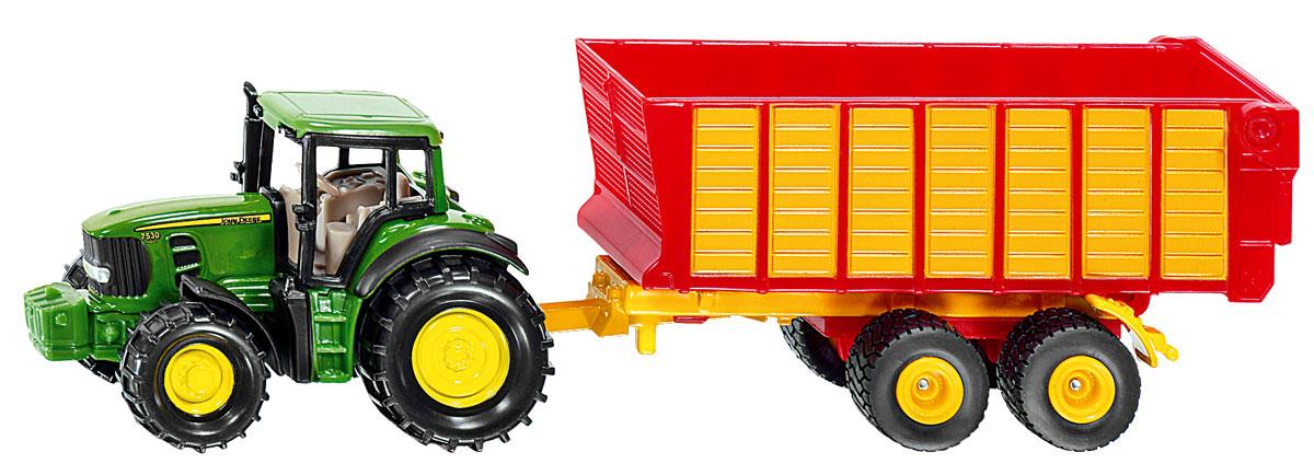 Siku Трактор John Deere с прицепом для силоса игрушка bruder john deere 1210e трактор с прицепом манипулятором и брёвнами 02 133