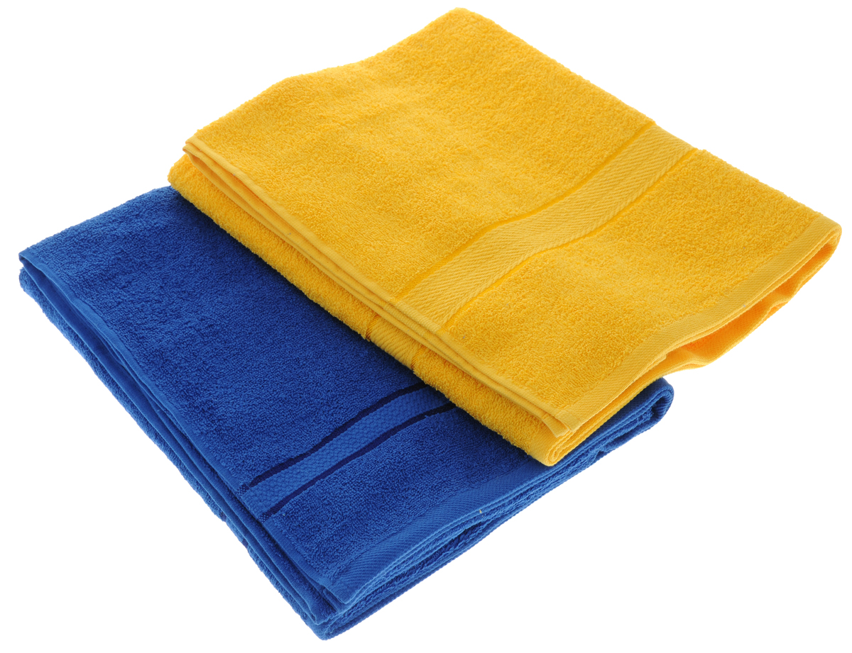 "Набор махровых полотенец ""Aisha Home Textile"", цвет: желтый, синий, 70 х 140 см, 2 шт"