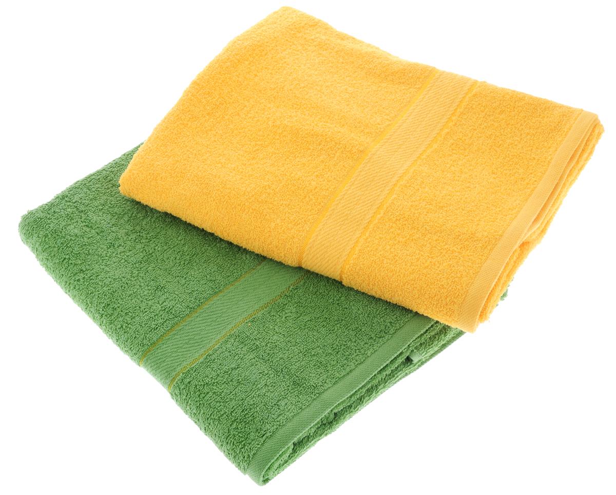 """Набор махровых полотенец """"Aisha Home Textile"""", цвет: желтый, зеленый, 70 х 140 см, 2 шт"""