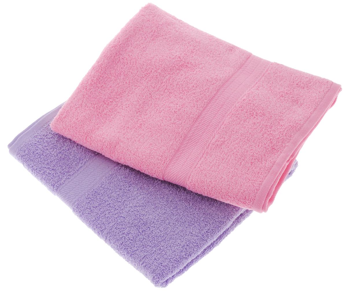 """Набор махровых полотенец """"Aisha Home Textile"""", цвет: сиреневый, розовый, 70 х 140 см, 2 шт"""