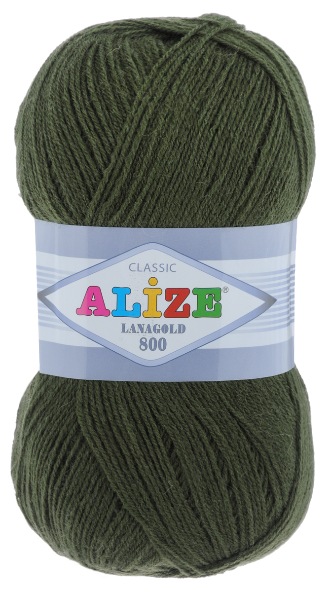 """Пряжа для вязания Alize """"Lanagold 800"""", цвет: темно-зеленый (29), 800 м, 100 г, 5 шт"""