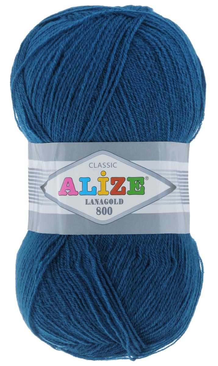 """Пряжа для вязания Alize """"Lanagold 800"""", цвет: синий (155), 800 м, 100 г, 5 шт"""
