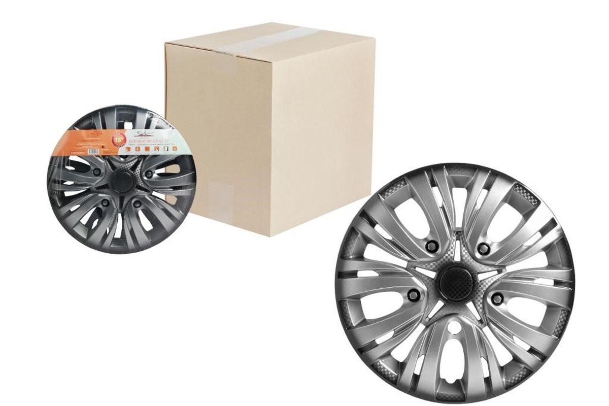 Колпаки колесные Airline Лион +, цвет: серебристо-черный, 15, 2 шт. AWCC-15-02 колпаки на колёса airline awcc 15 06