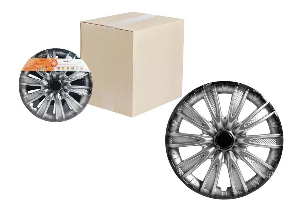 Колпаки колесные Airline Торнадо +, цвет: серебристо-черный, 15, 2 шт. AWCC-15-07 колпаки на колёса airline awcc 15 06