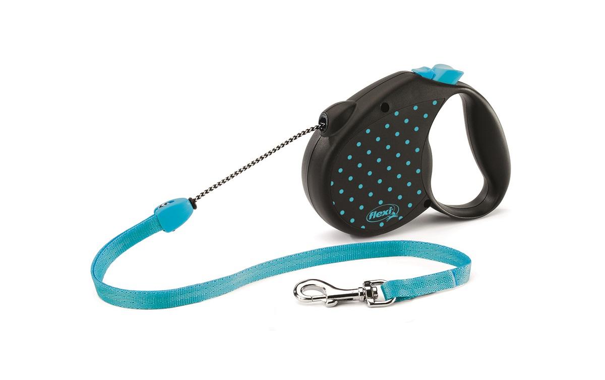 Поводок-рулетка Flexi Color М для собак до 20 кг, цвет: черный, голубой, 5 м поводок рулетка flexi color м для собак до 20 кг цвет черный голубой 5 м
