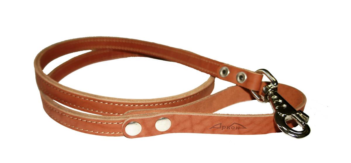"""Поводок для собак Аркон """"Стандарт"""", цвет: коньячный, ширина 1,6 см, длина 140 см"""
