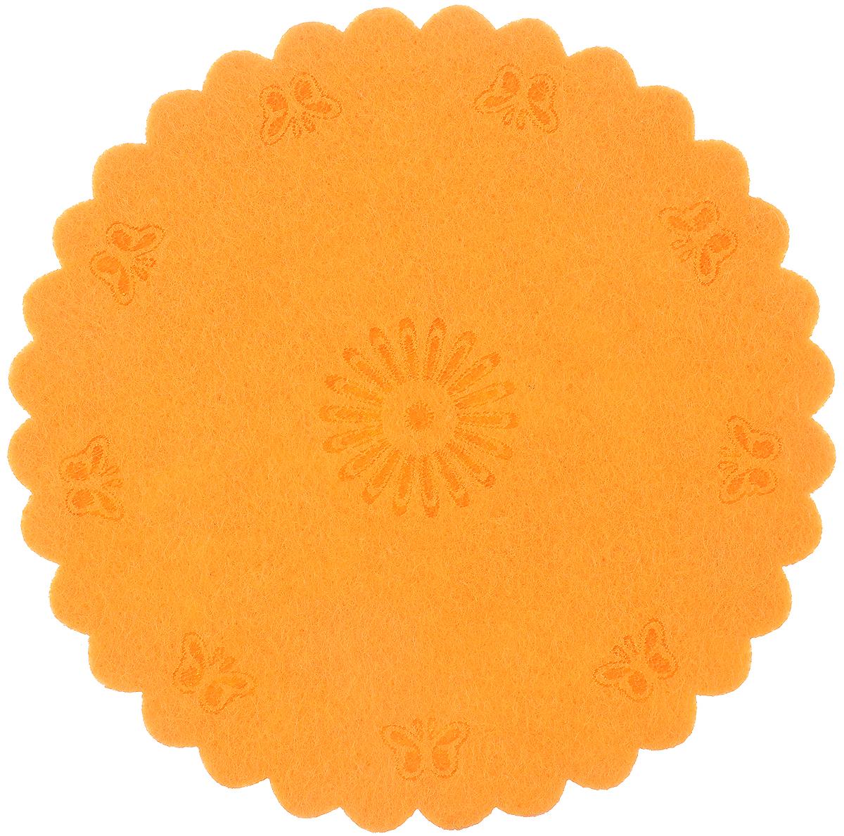 Украшение декоративное RTO Круг, цвет: оранжевый, диаметр 12 см декоративное украшение для раскрашивания подсвечник с ангелом арфа дерево 9х8х10см