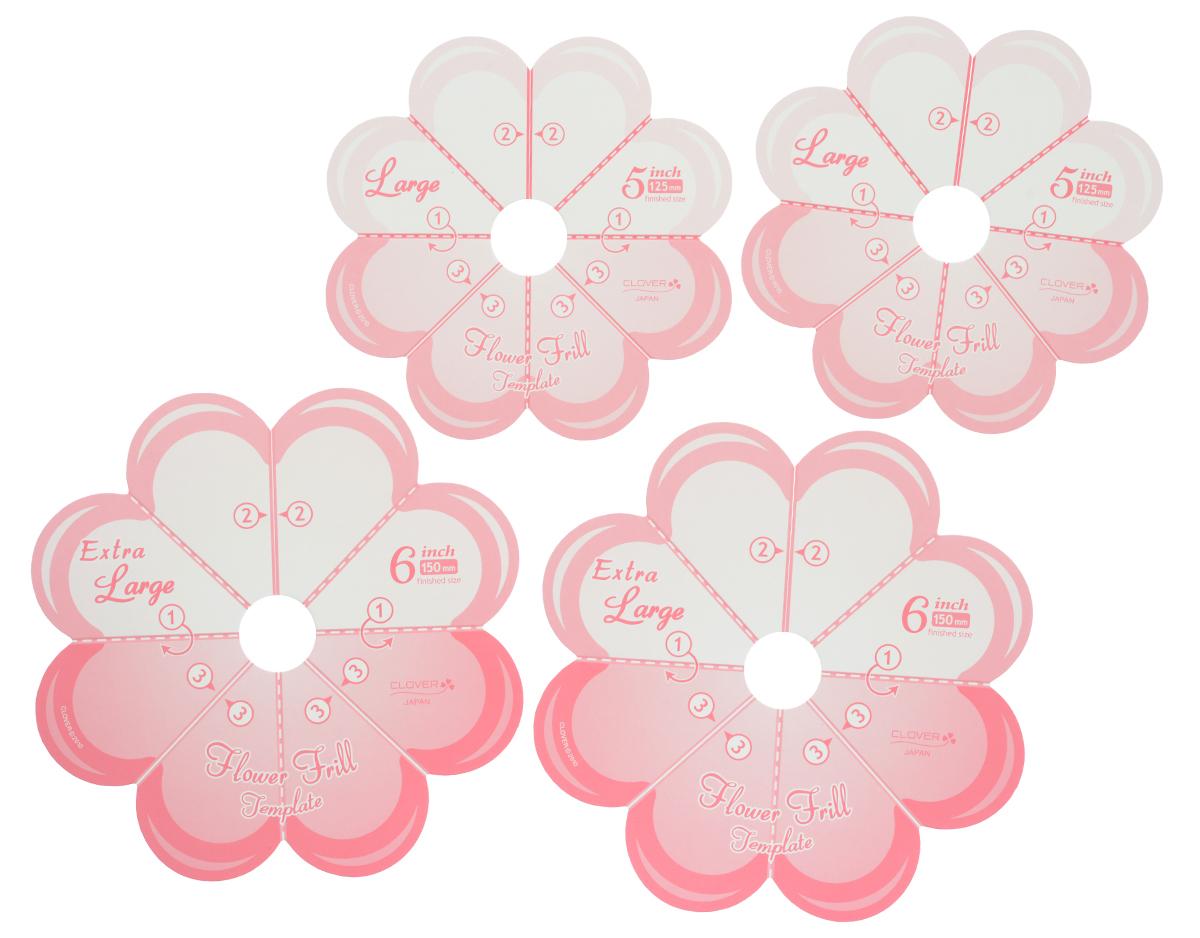 Набор шаблонов для изготовления декоративных цветов Clover, большие, 4 шт набор декоративных цветов scrapberry s цвет белый 10 шт