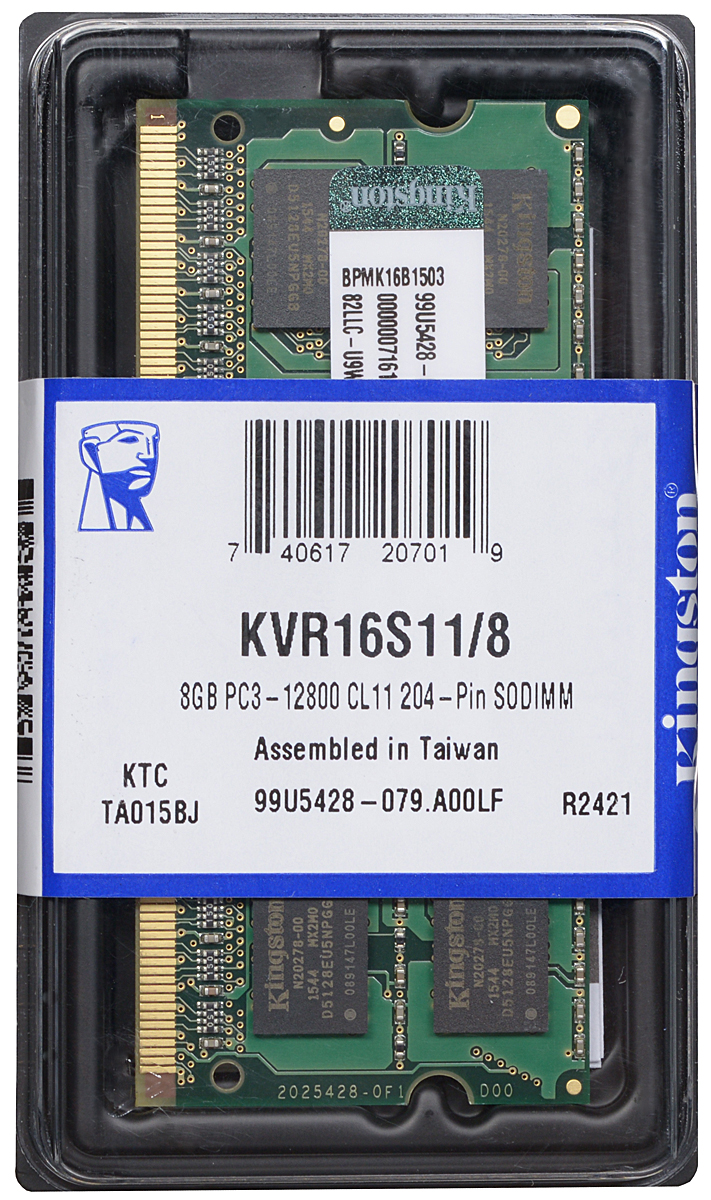 все цены на Модуль оперативной памяти Kingston DDR3 8GB 1600 МГц (KVR16S11/8) онлайн