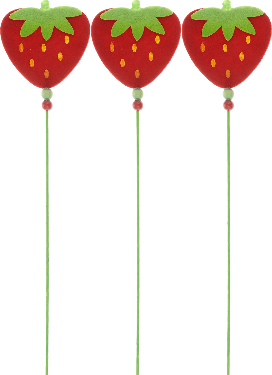 """Декоративное украшение на палочке RTO """"Клубника"""", цвет: красный, зеленый, длина 30 см, 3 шт"""