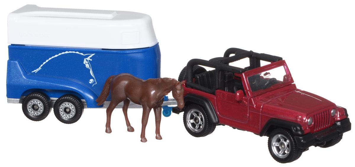 цена на Siku Внедорожник Jeep Wrangler с прицепом для перевозки лошадей
