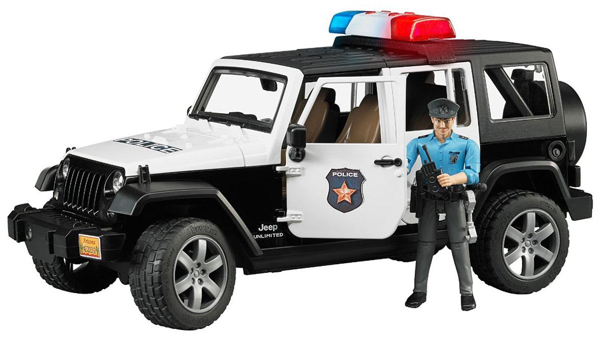 Bruder Внедорожник Jeep Wrangler Unlimited Rubicon Полиция bruder внедорожник jeep wrangler unlimited rubicon c прицепом платформой и колёсным мини погрузчиком cat 02 925