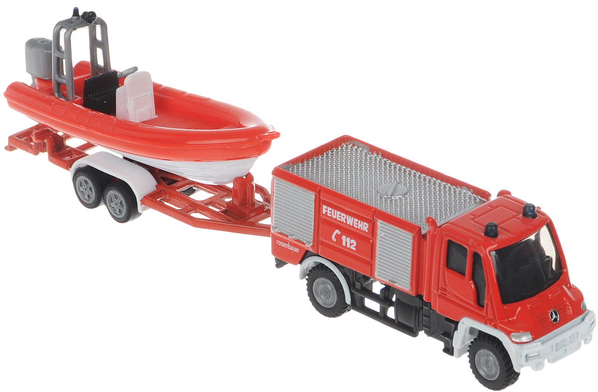 Siku Пожарная машина Unimog с катером пожарная машина siku