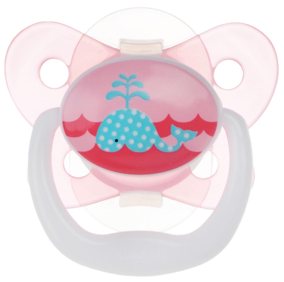 Dr. Brown's Пустышка PreVent Бабочка Кит от 0 до 6 месяцев цвет розовый