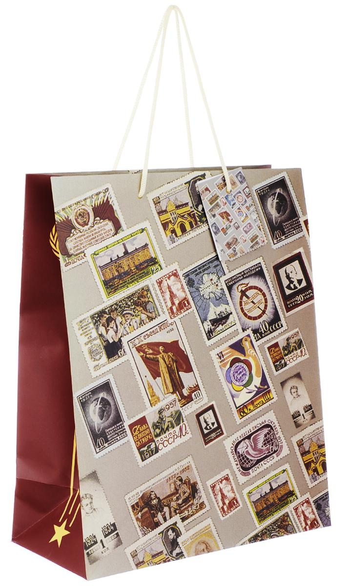 Пакет подарочный Феникс-Презент Почтовые марки, 26 х 12,7 х 32,4 см пакет подарочный а4 26 32 12 7см новогодние часыбумажный с ламинацией 140 г м2 75312