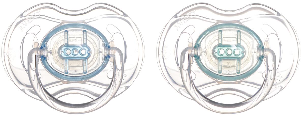 Philips Avent Пустышка серия Classic SCF170/18 бирюзовая, голубая, 2 шт., 0-6 мес.
