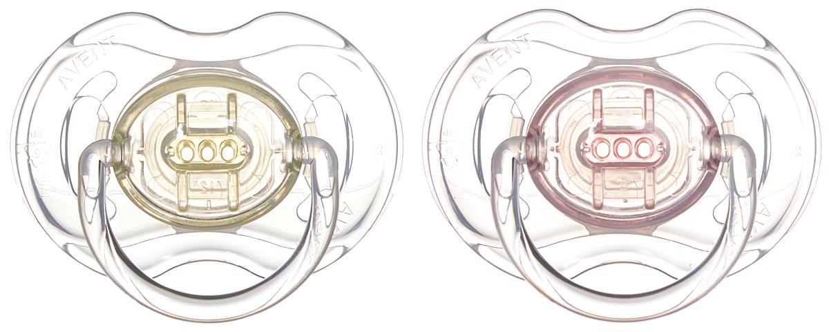 Philips Avent Пустышка серия Classic SCF170/18 розовая, желтая, 2 шт., 0-6 мес.