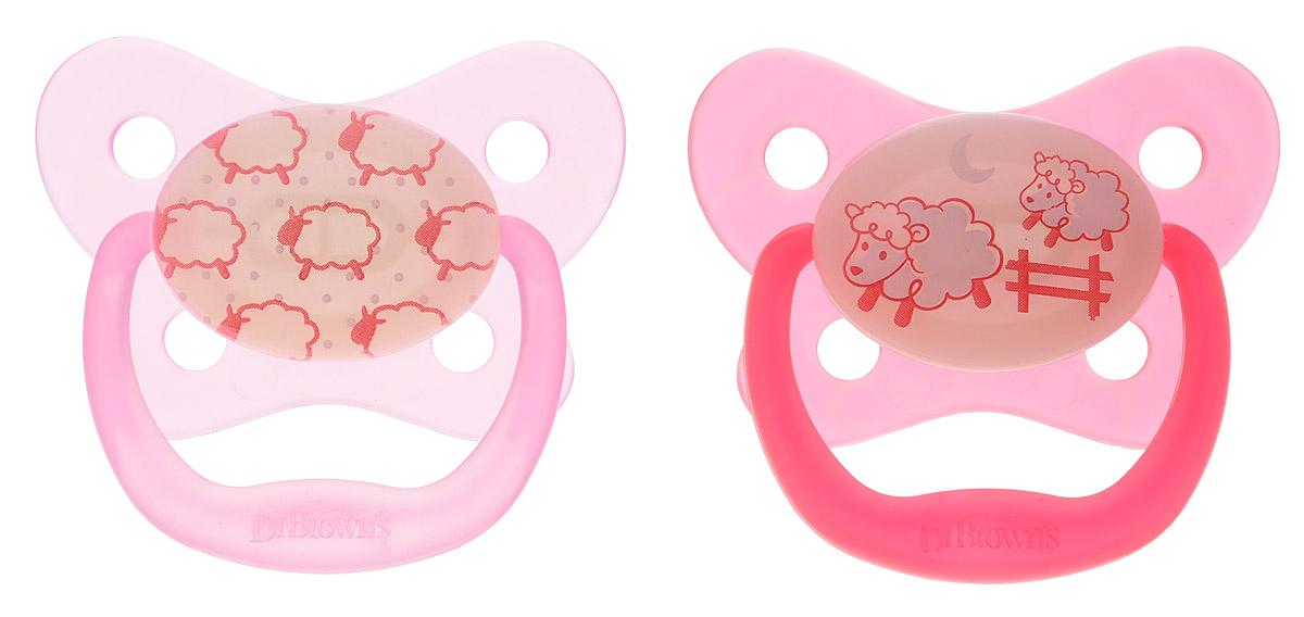 Dr. Brown's Пустышка для сна PreVent от 0 до 6 месяцев цвет розовый красный 2 шт