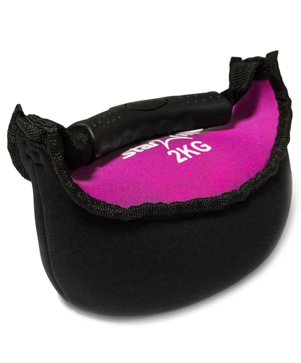 Гиря мягкая неопреновая Starfit, цвет: черный, розовый, 2 кг гиря iron head медведь 32 0 кг