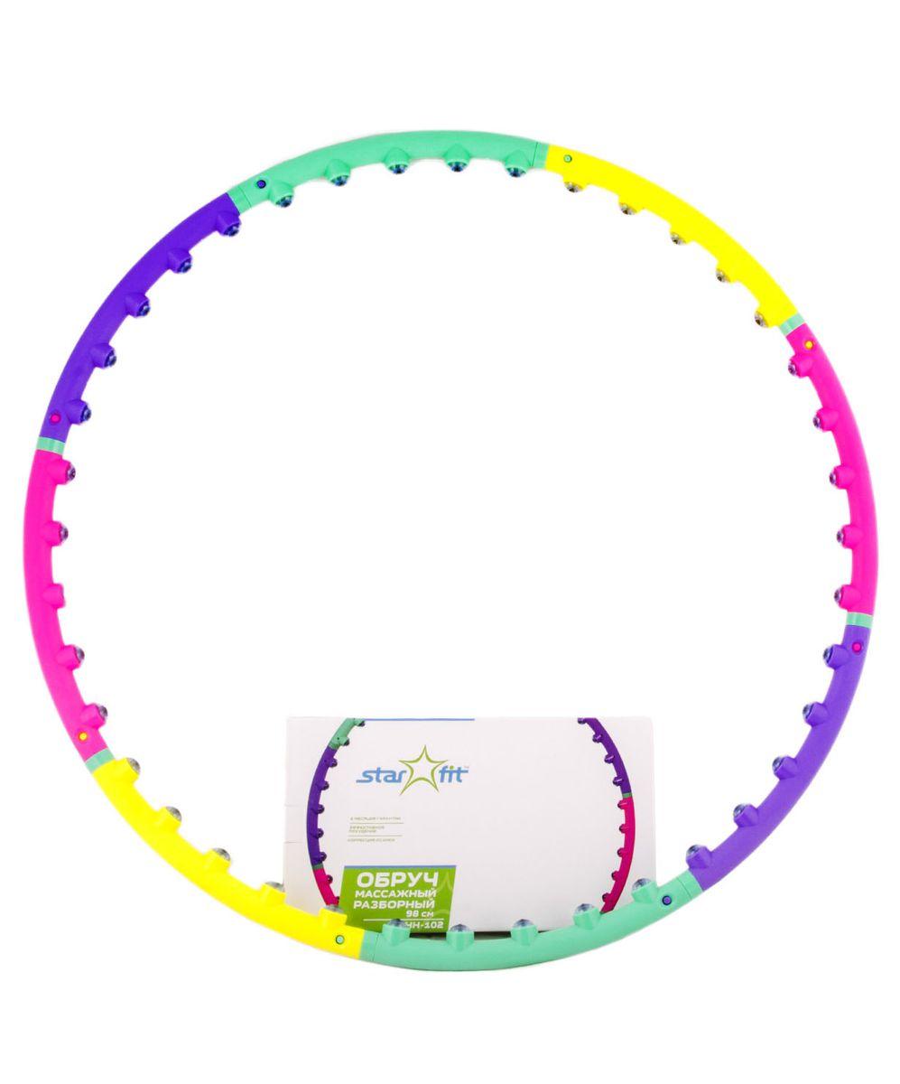 Фото - Обруч массажный Starfit, разборный, цвет: фиолетовый, розовый, зеленый, диаметр 98 см обруч гимнастический starfit обруч массажный hh 106 разборный 98 см