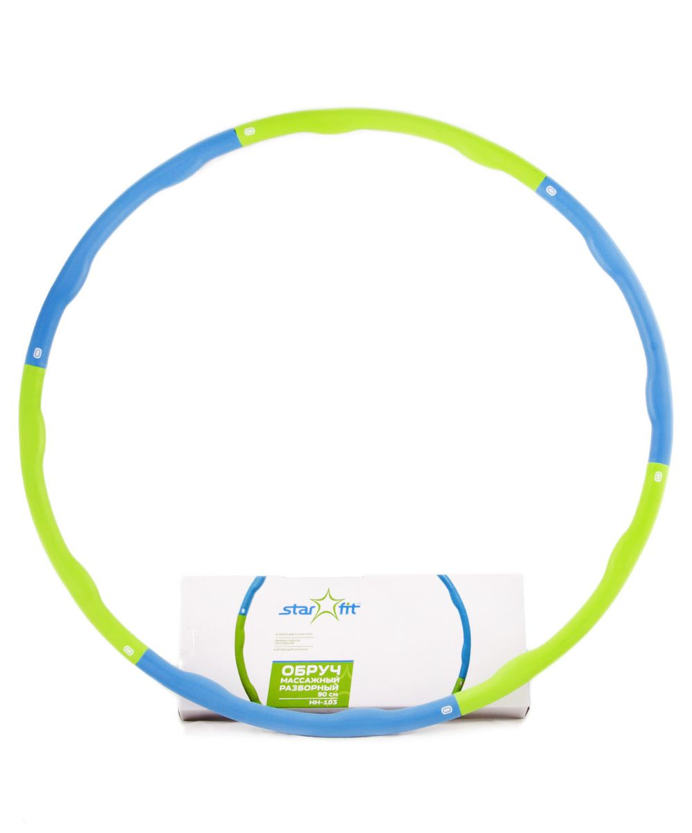Фото - Обруч массажный Starfit, разборный, цвет: синий, салатовый, диаметр 90 см обруч гимнастический starfit обруч массажный hh 106 разборный 98 см