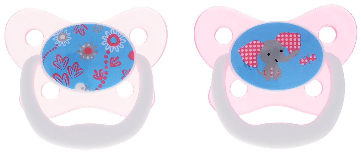 Dr. Brown's Пустышка PreVent Бабочка от 6 до 12 месяцев цвет розовый 2 шт